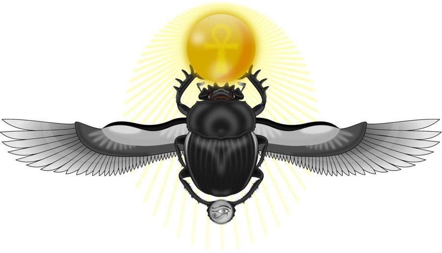 Изображение жука скарабея и солнца